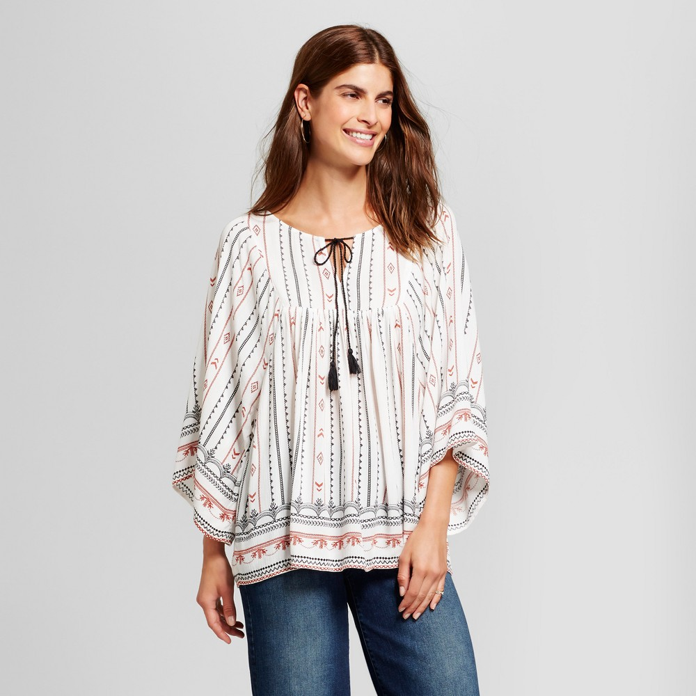 Women's Border Printed Peasant Blouse with Tassel Neck - Como Black - Ivory Combo M, White