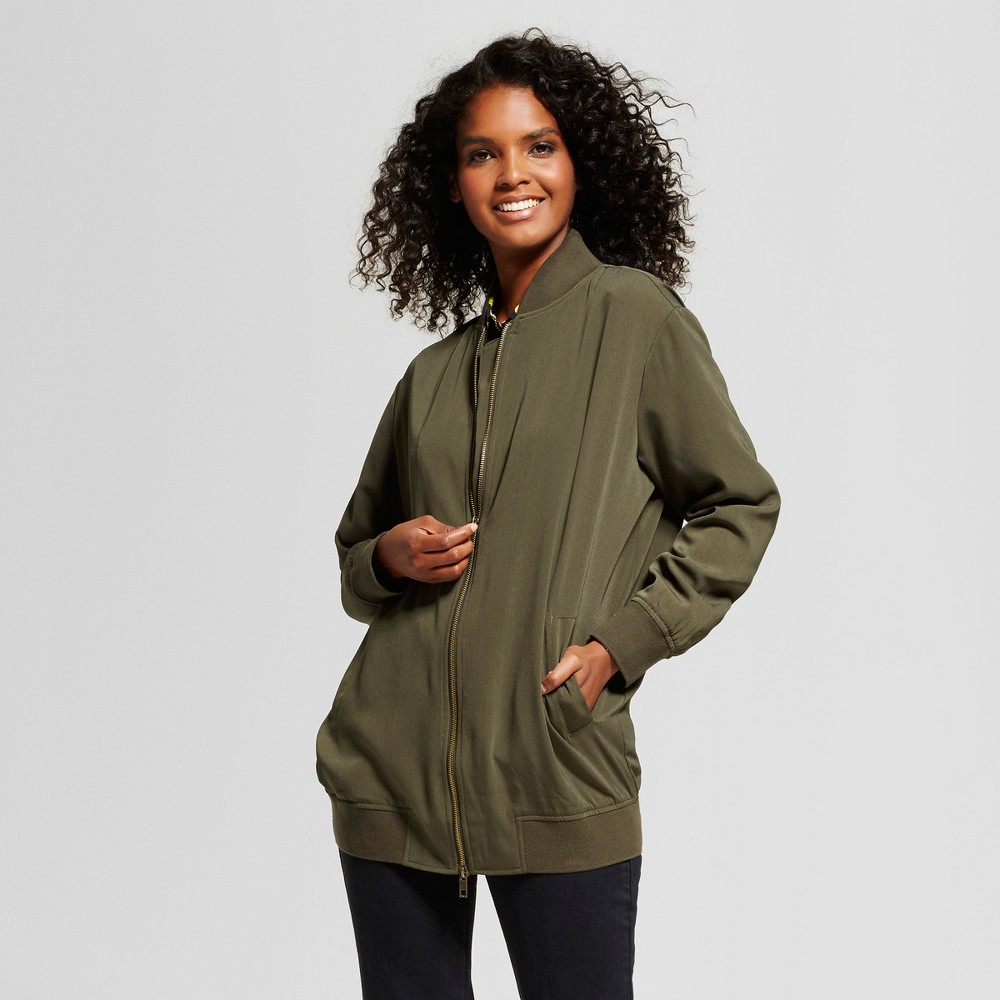 Womens Oversized Bomber Jacket - Who What Wear Olive S, Green