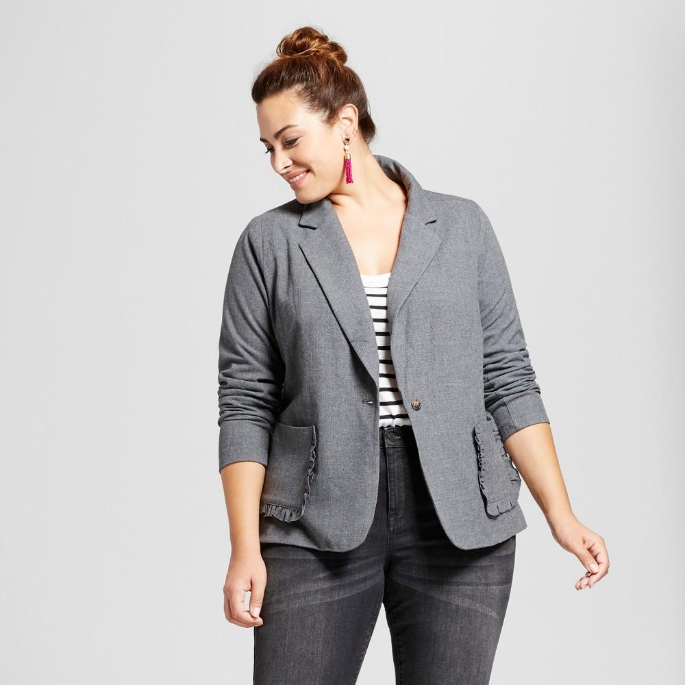 Womens Plus Size Schoolboy Blazer - Ava & Viv Heather Gray 1X