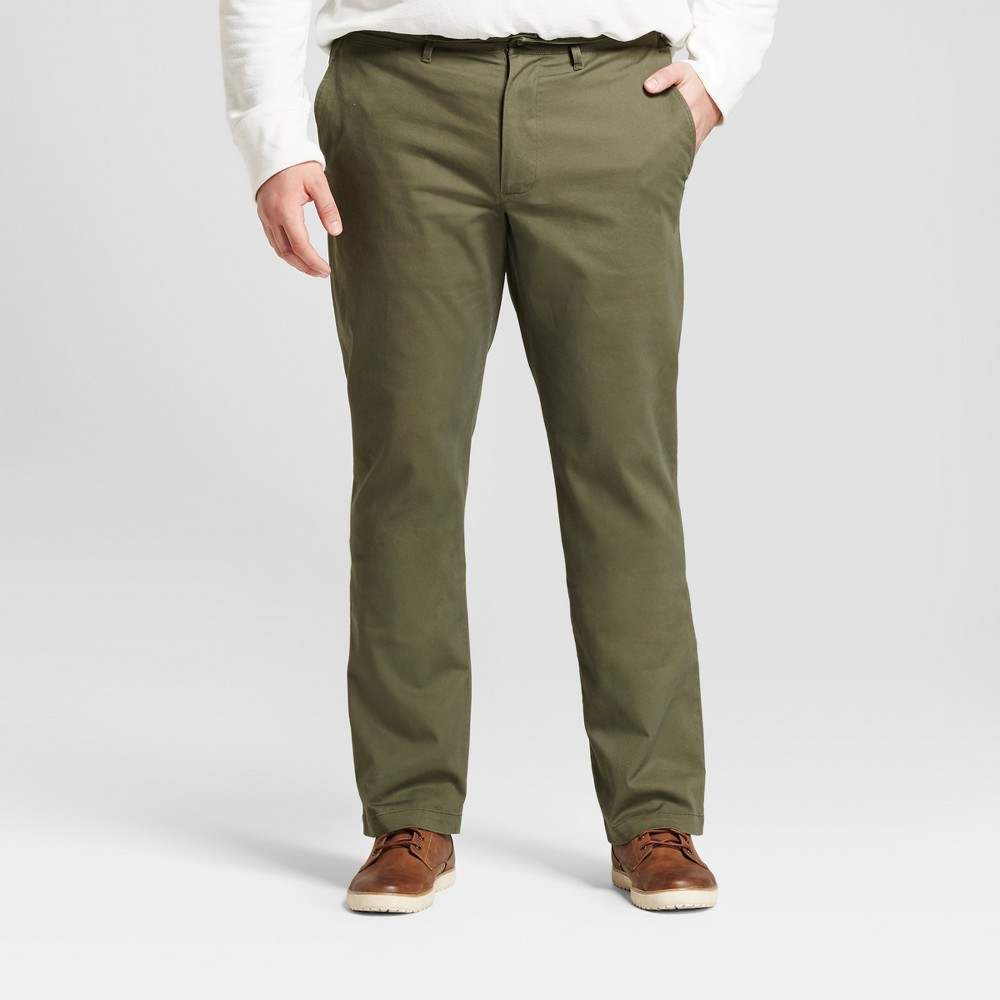 Mens Big & Tall Straight Fit Hennepin Chino Pants - Goodfellow & Co Olive (Green) 46x30