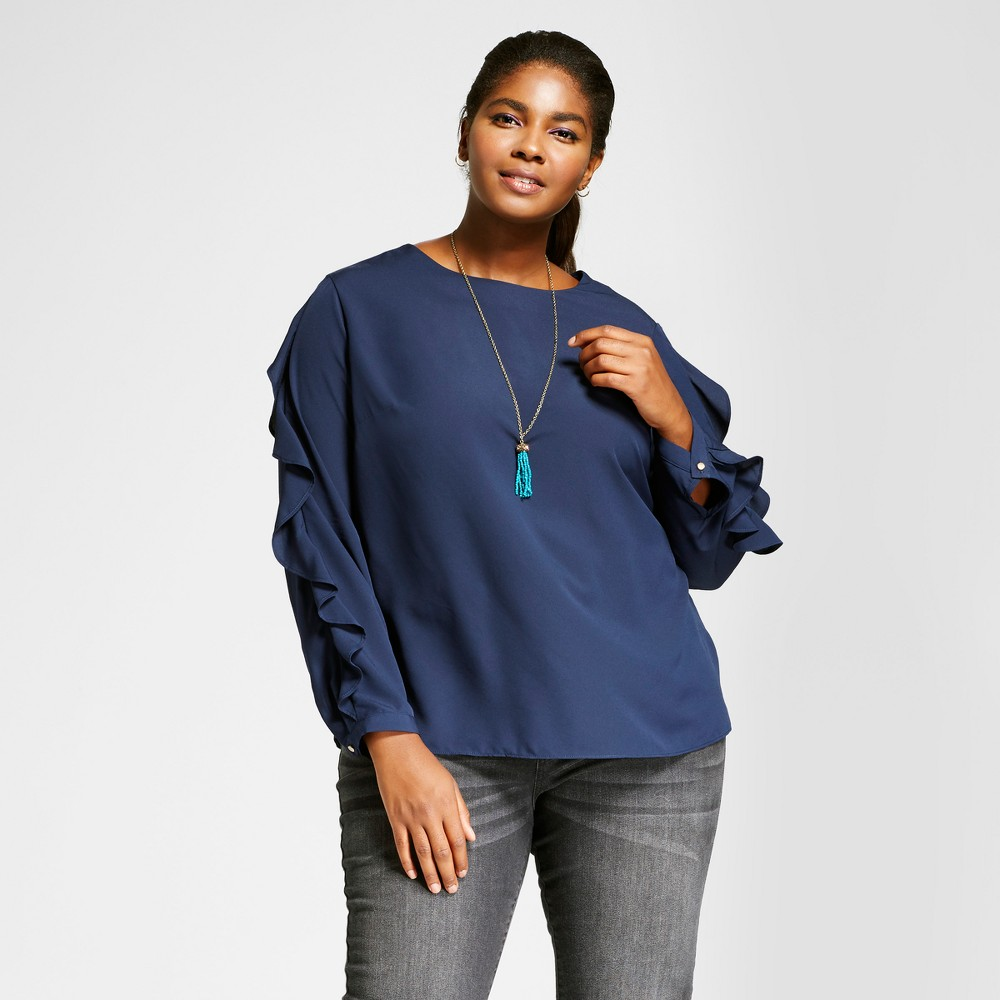 Womens Plus Size Ruffle Sleeve Blouse - Ava & Viv Navy (Blue) 2X