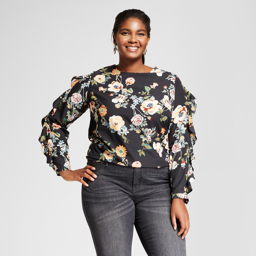 Womens Plus Size Ruffle Sleeve Blouse - Ava & Viv Black Floral 1X