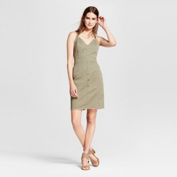 Women's V-Neck Utility Button Front Dress - J by JOA Army Green