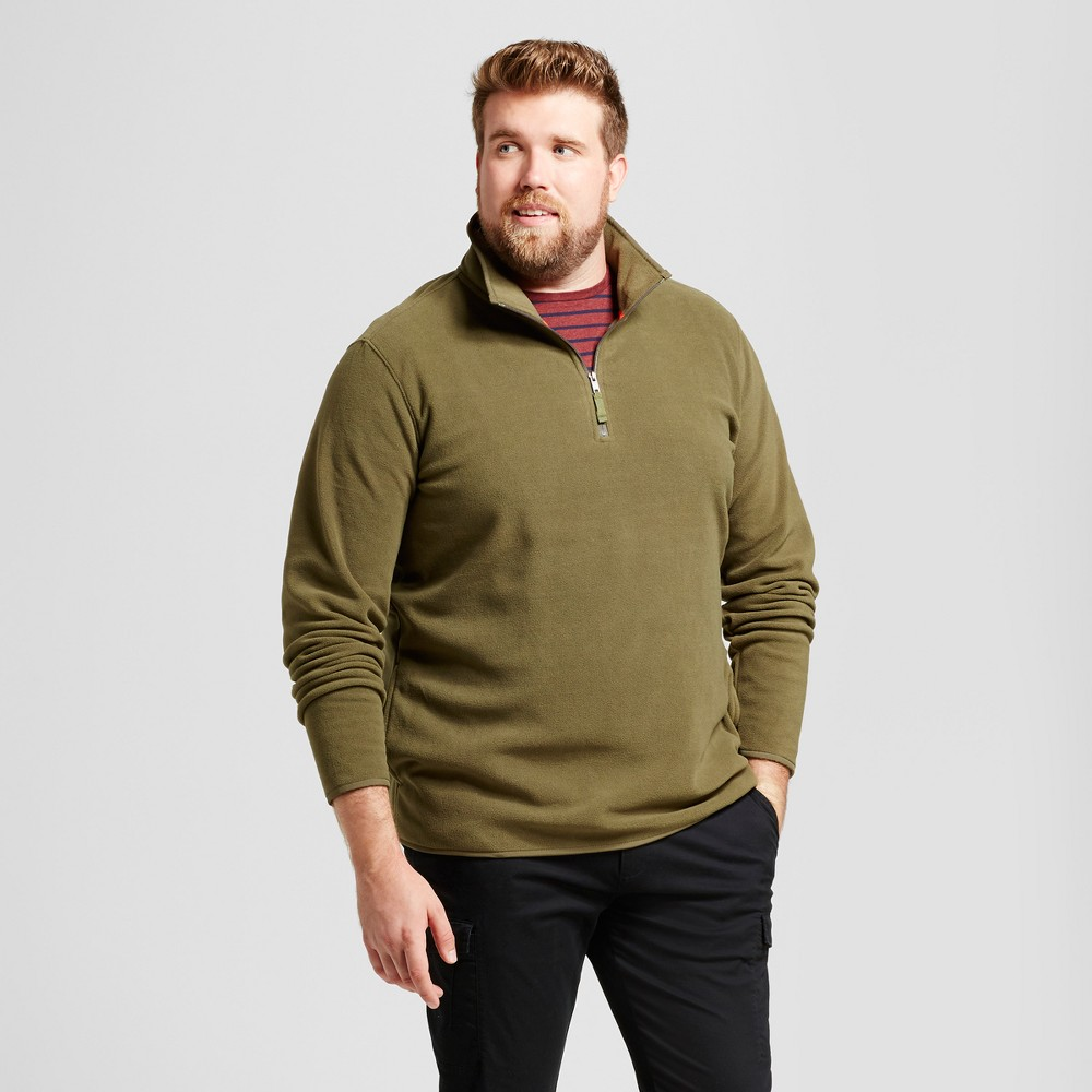 Mens Big & Tall Microfleece Pullover - Goodfellow & Co Olive (Green) 2XB