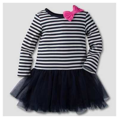 Gerber® Graduates® Toddler Girls' Long Sleeve Stripes with Tulle A Line Dresses - Navy & White 12M