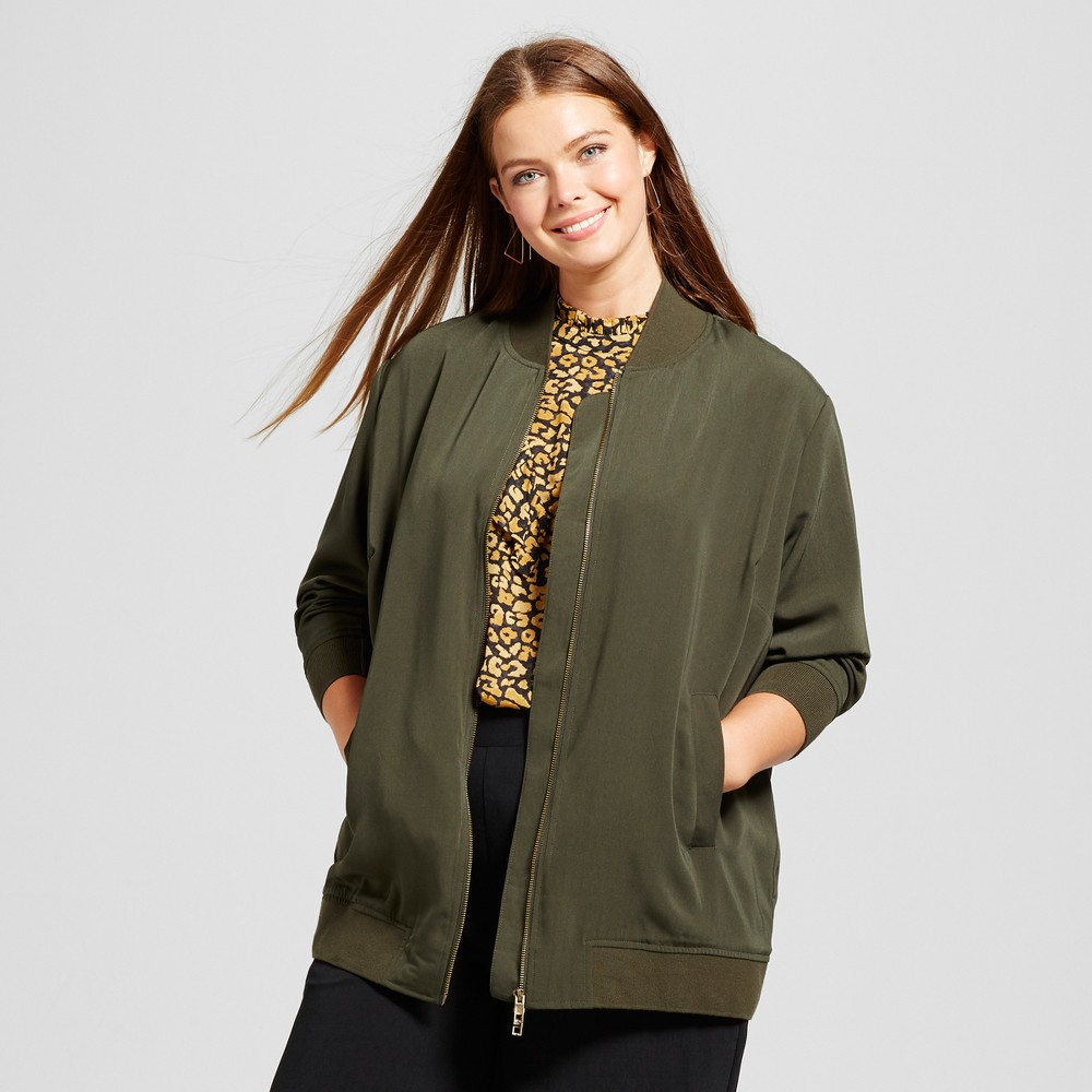 Womens Plus Size Oversized Bomber Jacket - Who What Wear Olive 2X, Green