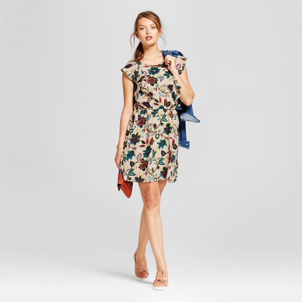 Womens Floral Flutter Sleeve Crepe Dress - A New Day Cream L, Beige