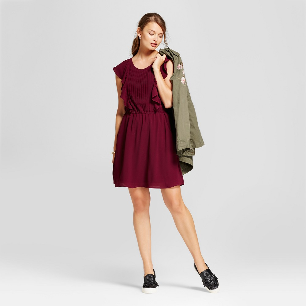 Womens Flutter Sleeve Crepe Dress - A New Day Cherry L, Purple