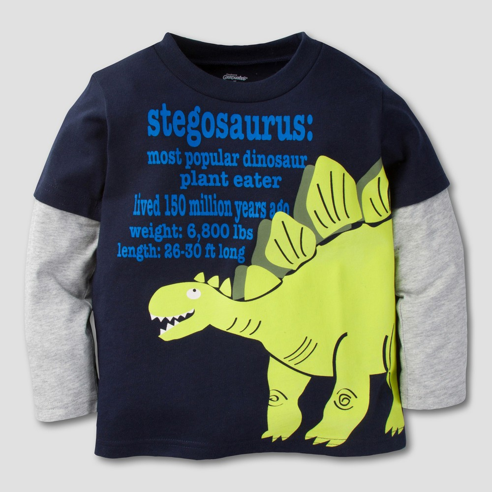 Gerber Graduates Toddler Boys Stegosaurus Long Sleeve T-Shirt - Gray/Navy 5T, Blue