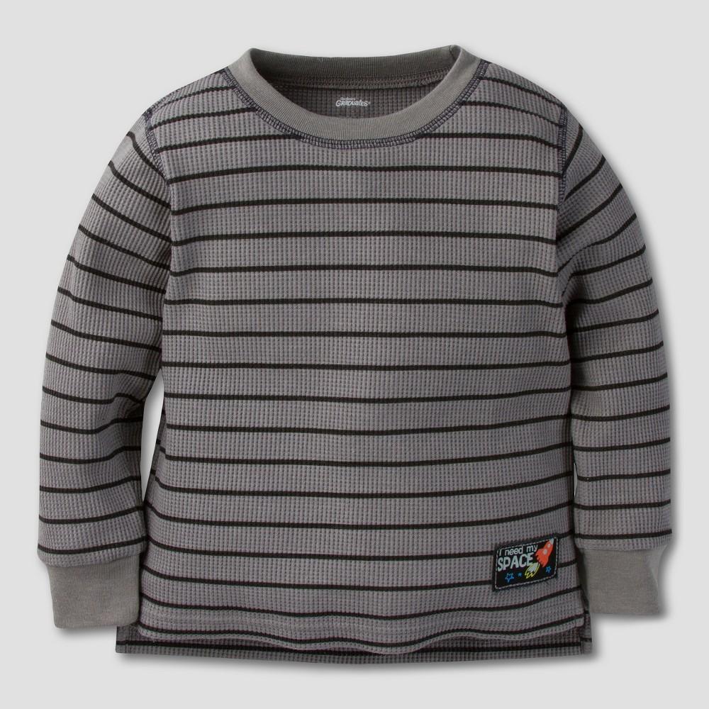 Gerber Graduates Toddler Boys Long Sleeve T-Shirt - Gray/Black Stripes 18M, Size: 18 M
