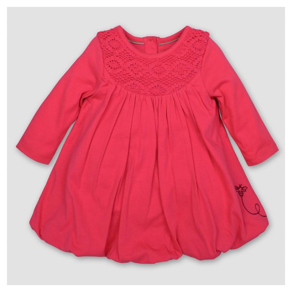 Burts Bees Baby Toddler Girls Crochet Yoke Bubble A Line Dress - Magenta 6, Purple