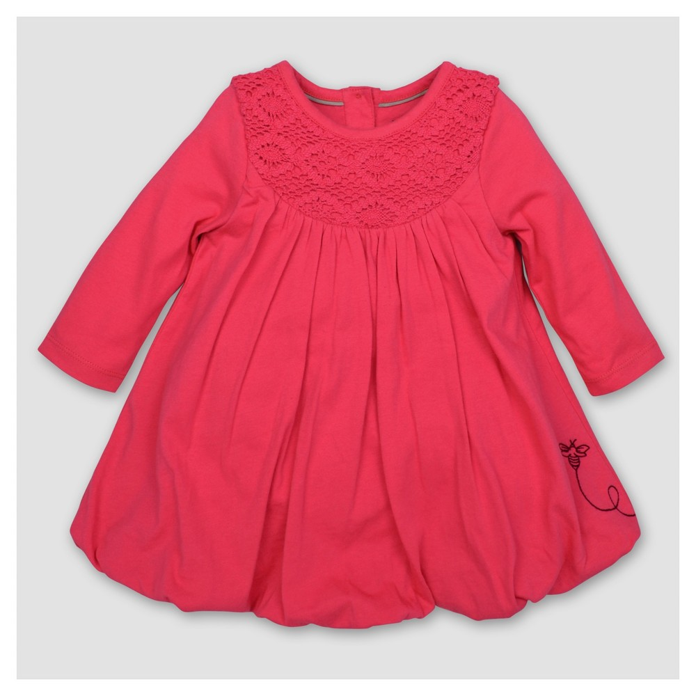 Burts Bees Baby Toddler Girls Crochet Yoke Bubble A Line Dress - Magenta 6X, Purple