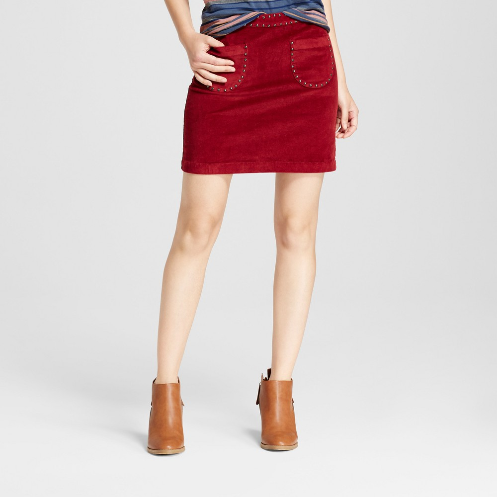 Womens Corduroy Skirt with Studs - Mossimo Supply Co. Burgundy 0, Red