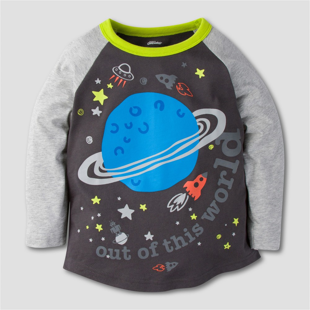 Gerber Graduates Toddler Boys' Space Long Sleeve T-Shirt - Grey 4T, Black