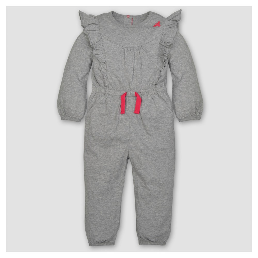 Burts Bees Baby Toddler Girls Ruffled Bubble Jumpsuit - Heather Gray 4T