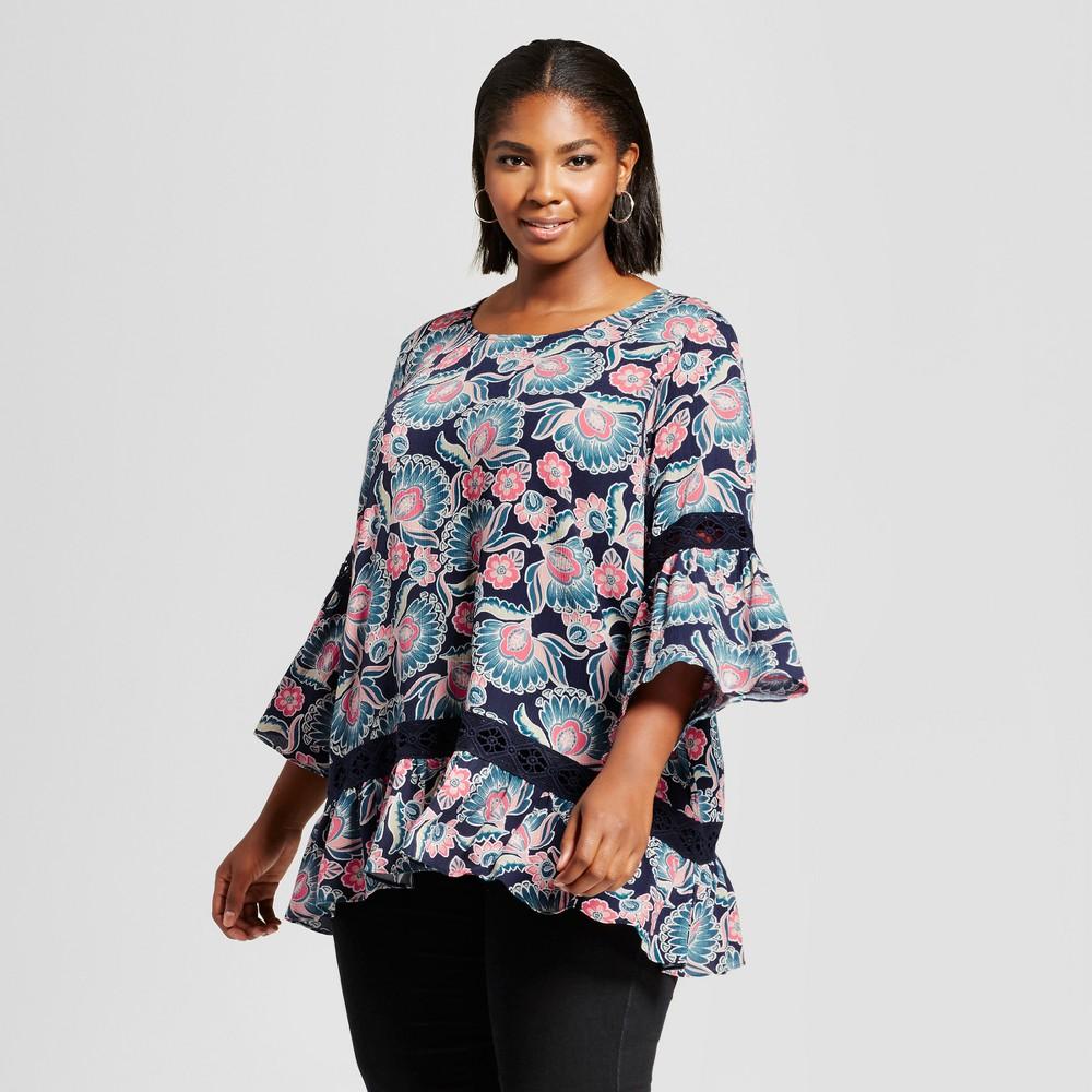 Womens Plus Size Ruffled Hem Printed Blouse - JohnPaulRichard Stormy Night 3X, Black
