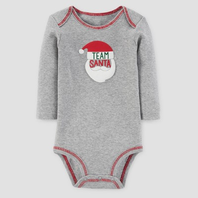Baby's Long Sleeve Team Santa Bodysuit - Just One You™ Made by Carter's® Gray 6M