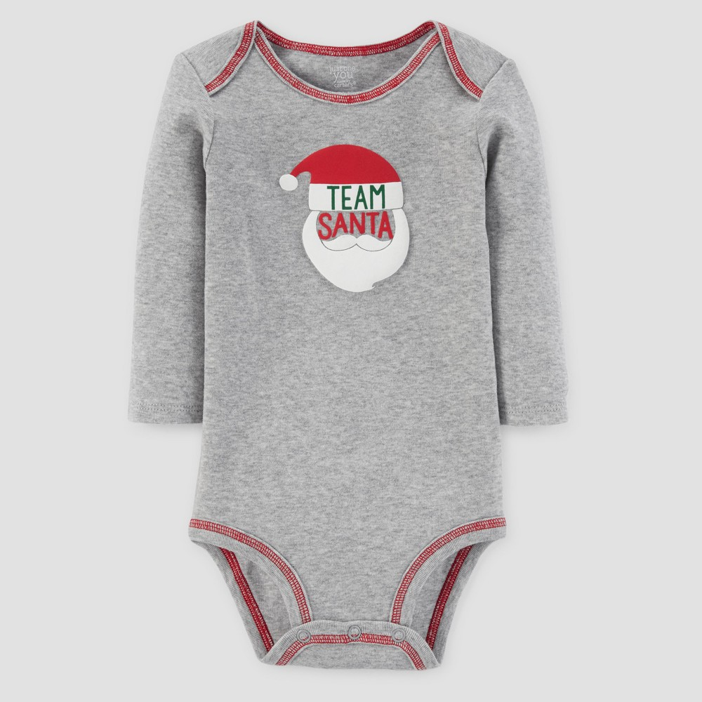Babys Long Sleeve Team Santa Bodysuit - Just One You Made by Carters Gray 6M, Infant Unisex