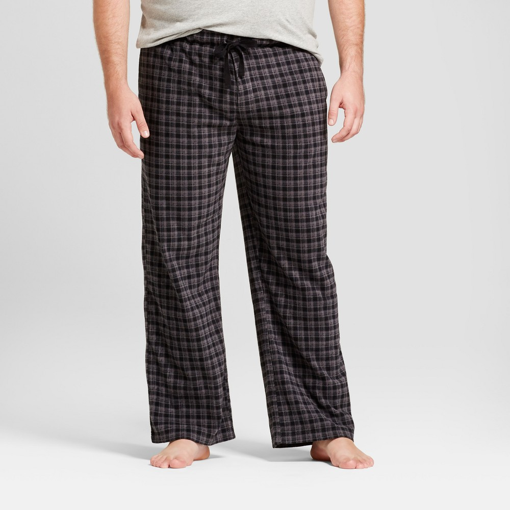 Mens Big & Tall Fleece Pajama Pants - Goodfellow & Co Black/Gray Xlt