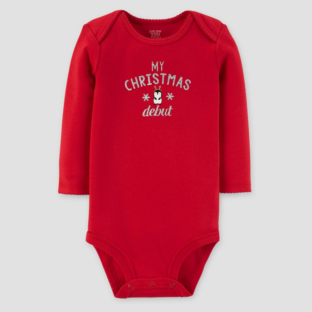 Baby Girls Long Sleeve My Christmas Debut Bodysuit - Just One You Made by Carters Red 3M