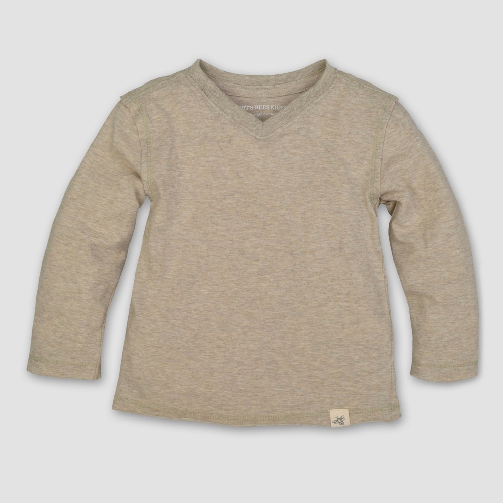 Burts Bees Baby Toddler Boys Long Sleeve V-Neck T-Shirt - Sand (Brown) 6