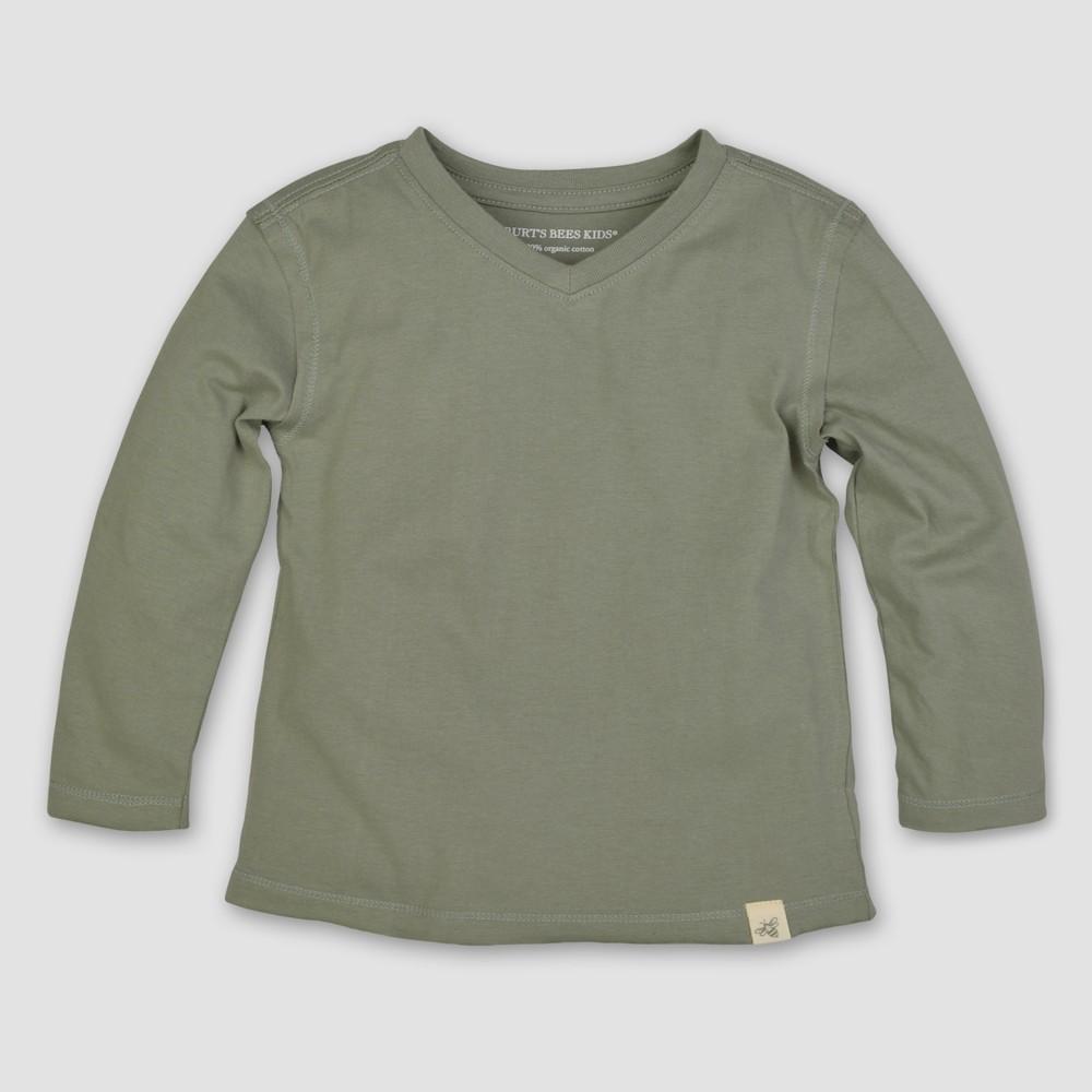 Burt's Bees Baby Toddler Boys' Long Sleeve V-Neck T-Shirt - Leaf 4T