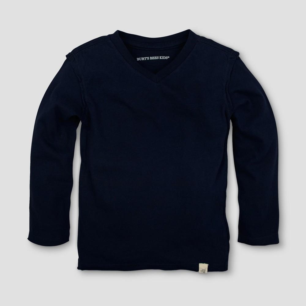 Burts Bees Baby Toddler Boys Long Sleeve V-Neck T-Shirt - Midnight Blue 2T, Blue Midnight