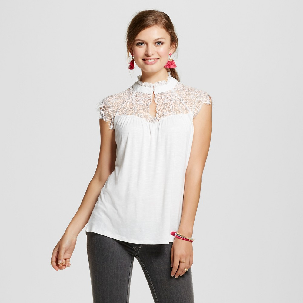 Womens Lace Mock Neck Cap Sleeve Top - 3Hearts (Juniors) Cream (Ivory) XL
