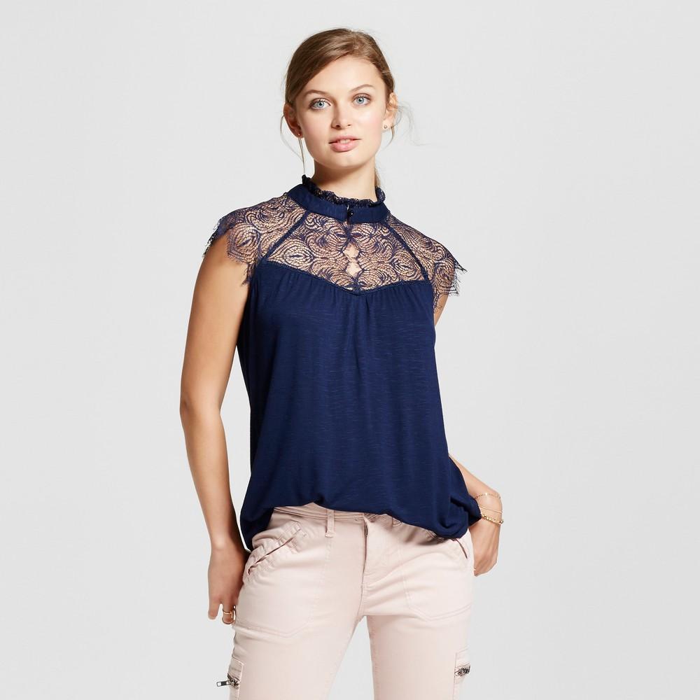 Womens Lace Mock Neck Cap Sleeve Top - 3Hearts (Juniors) Blue XL