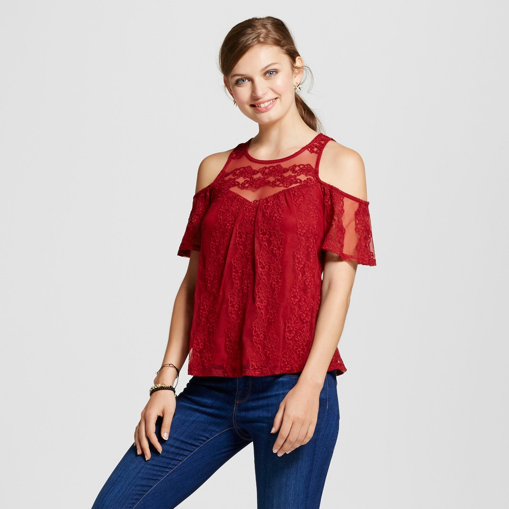 Womens Lace Illusion Cold Shoulder Top - 3Hearts (Juniors) Red L