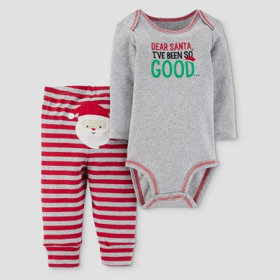 Baby Boys' 2pc Dear Santa Bodysuit and Pants Set - Just One You™ Made by Carter's® Gray/Red NB