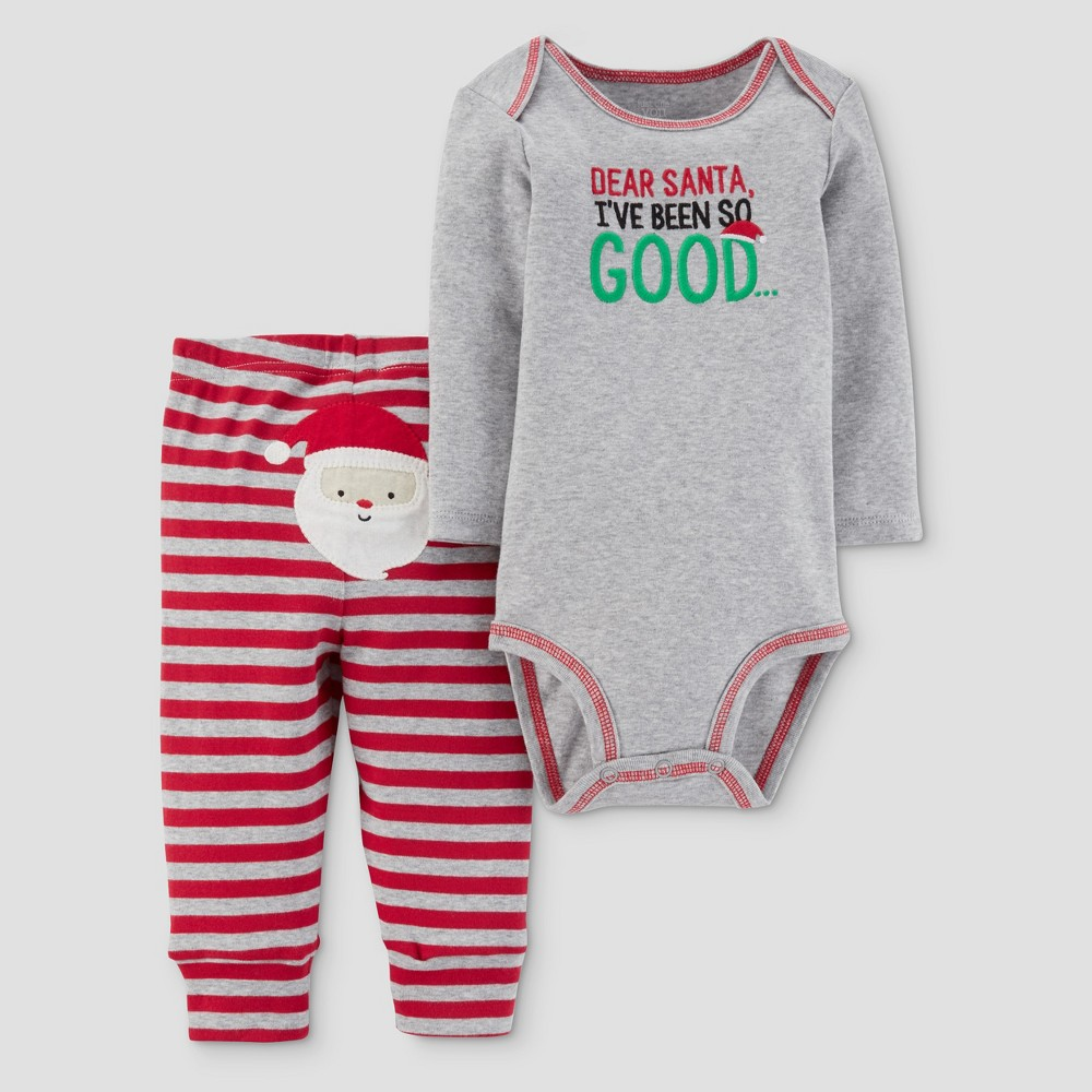 Baby Boys 2pc Dear Santa Bodysuit and Pants Set - Just One You Made by Carters Gray/Red NB