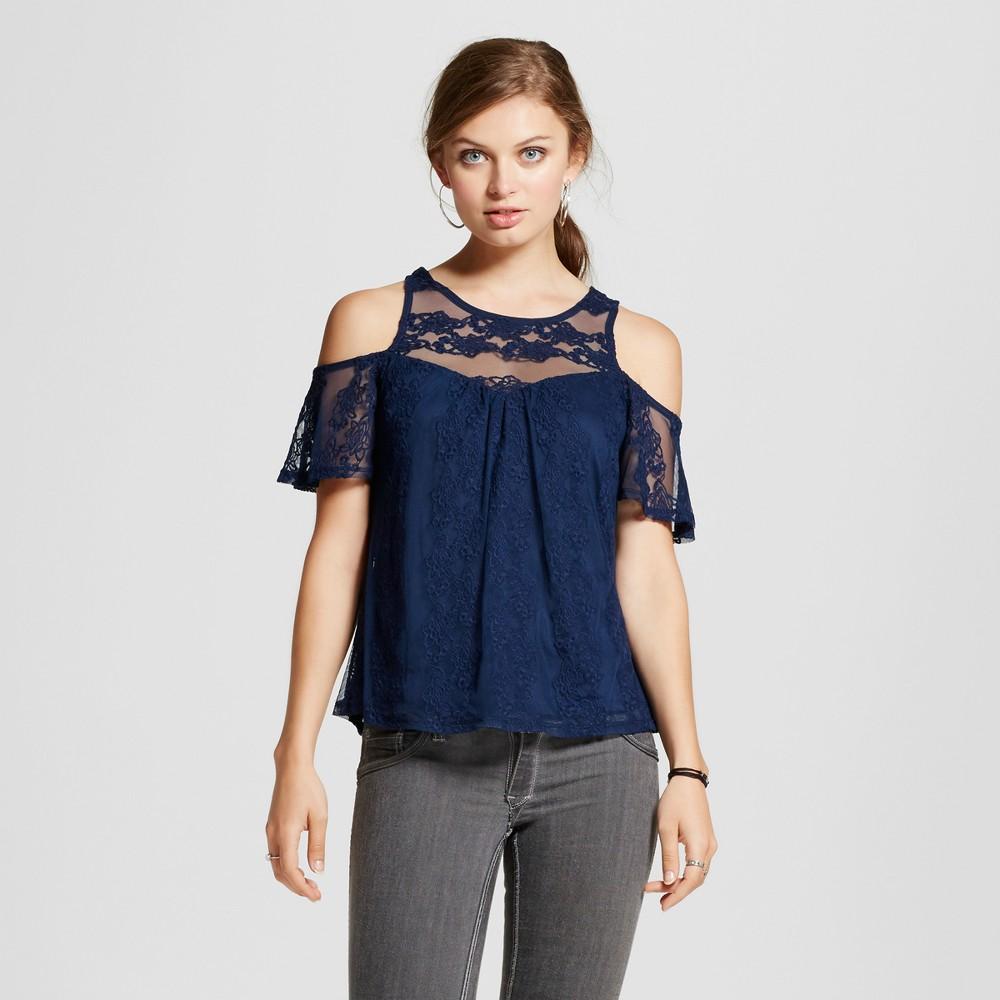 Womens Lace Illusion Cold Shoulder Top - 3Hearts (Juniors) Blue L