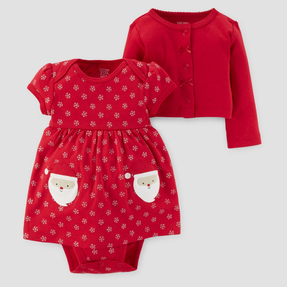 Baby Girls 2pc Dress and Sweater Set - Just One You Made by Carters Red NB