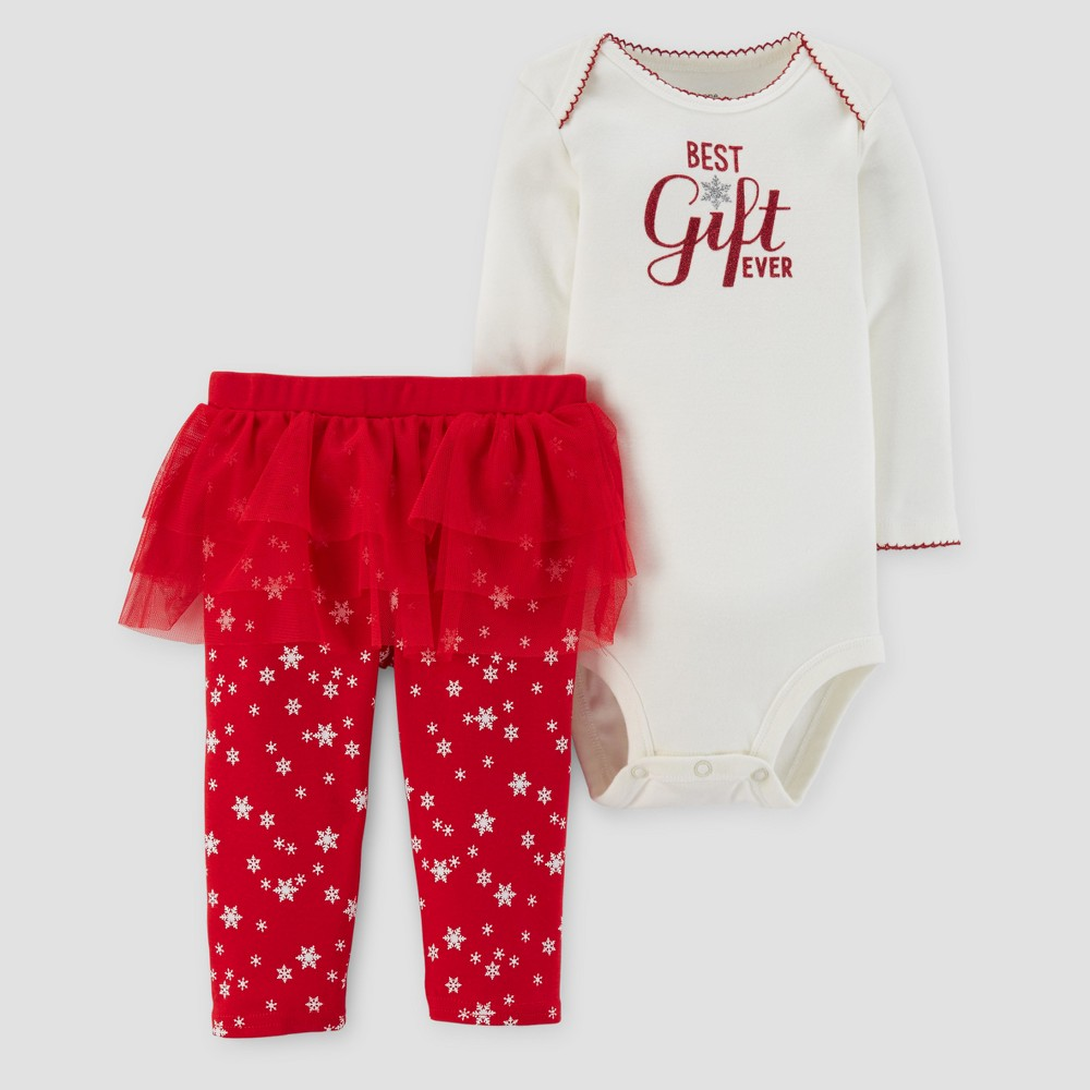 Baby Girls Greatest Gift Ever Bodysuit and Tutu Leggings Set - Just One You Made by Carters Cream/Red NB, White