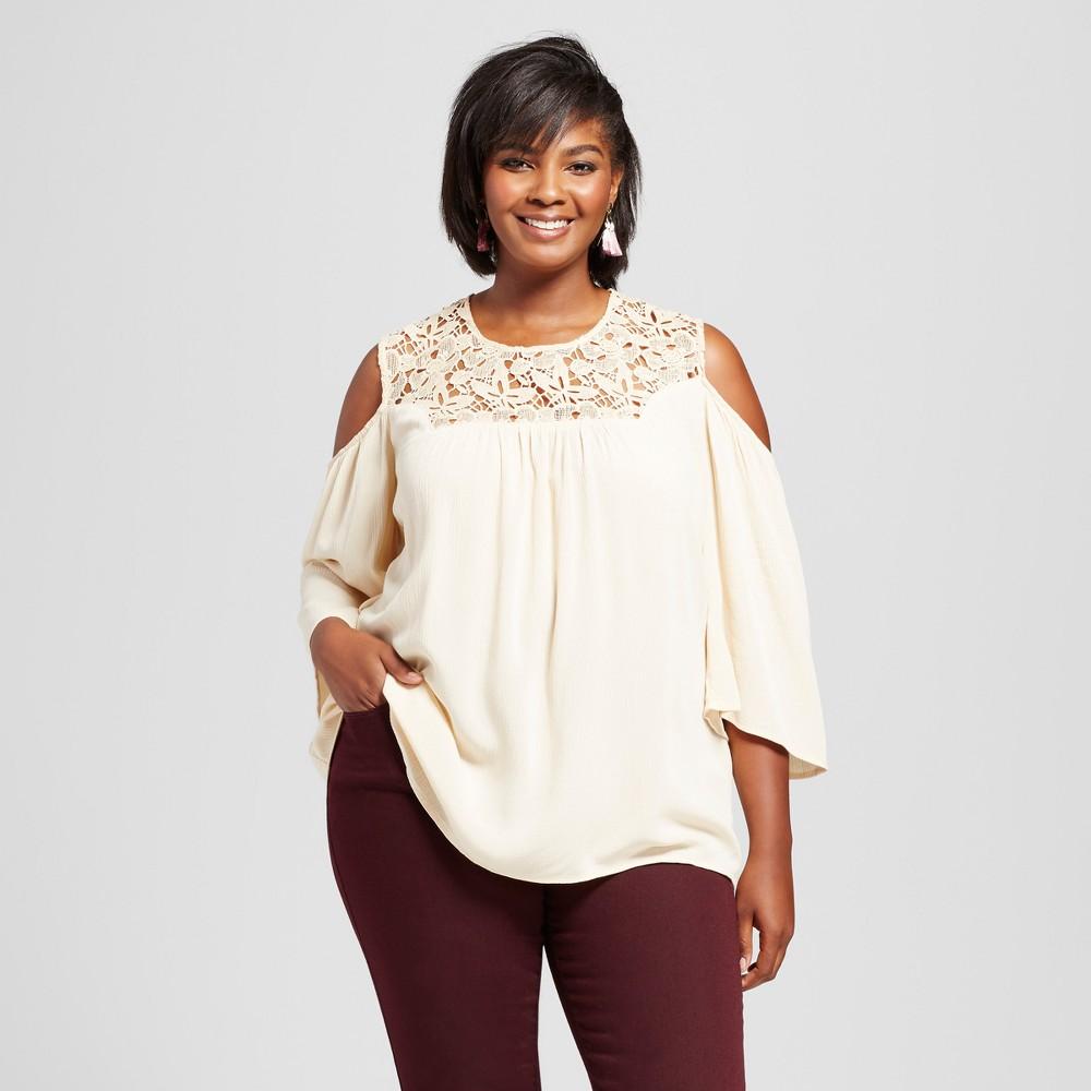 Womens Plus Size Crepon Cold Shoulder Blouse - JohnPaulRichard Beige 2X