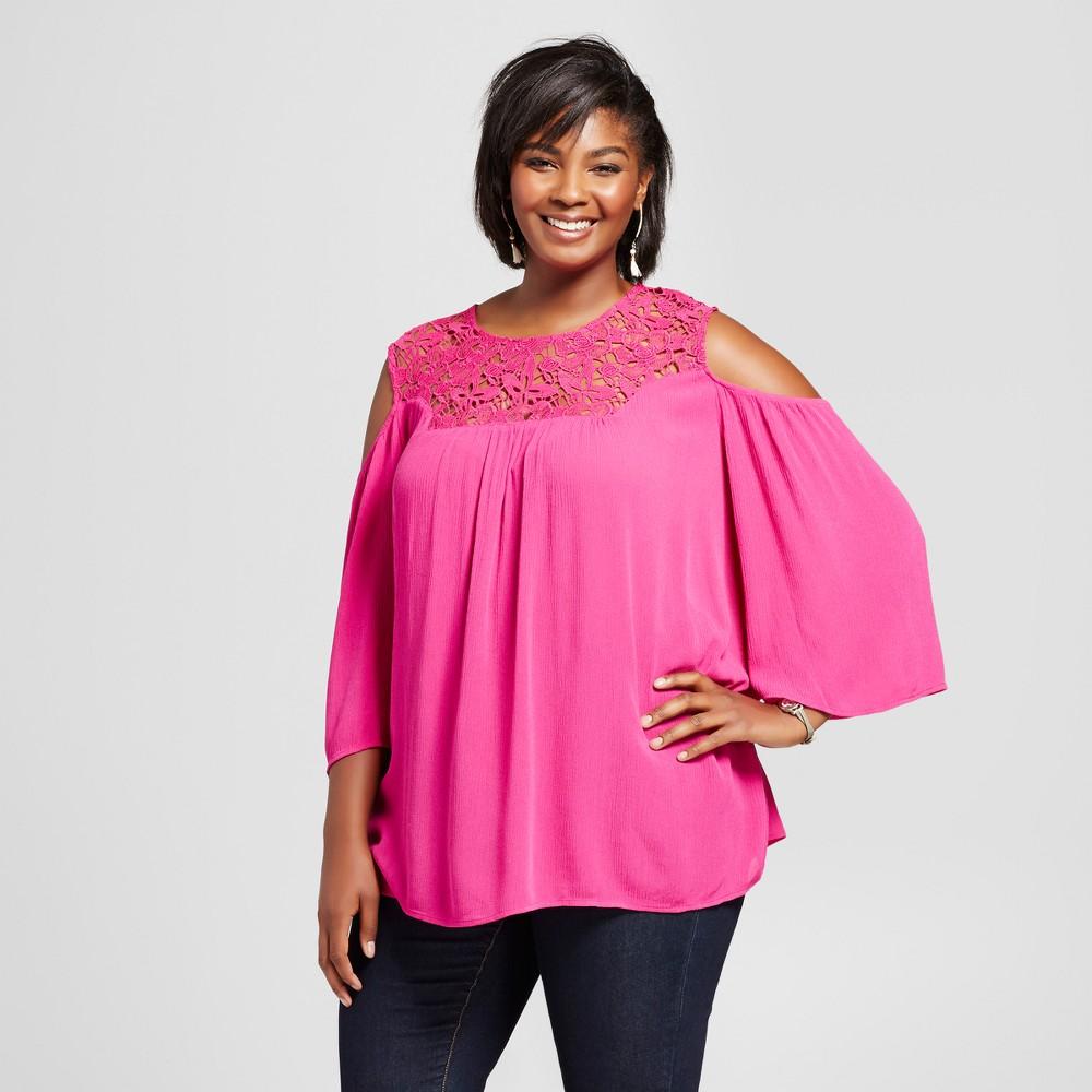 Womens Plus Size Crepon Cold Shoulder Blouse - JohnPaulRichard Pink 1X