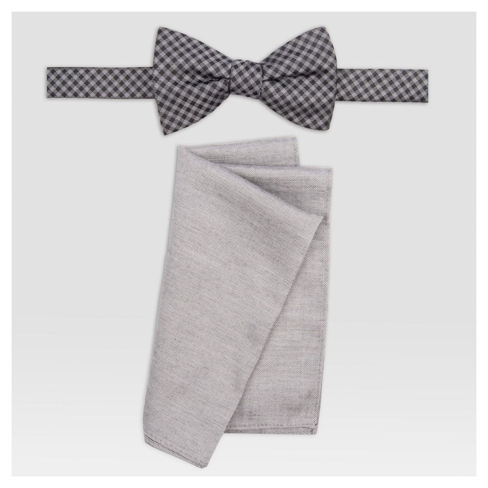 Mens Gingham Bowtie With Herringbone Pattern - Goodfellow & Co Black/Gray One Size