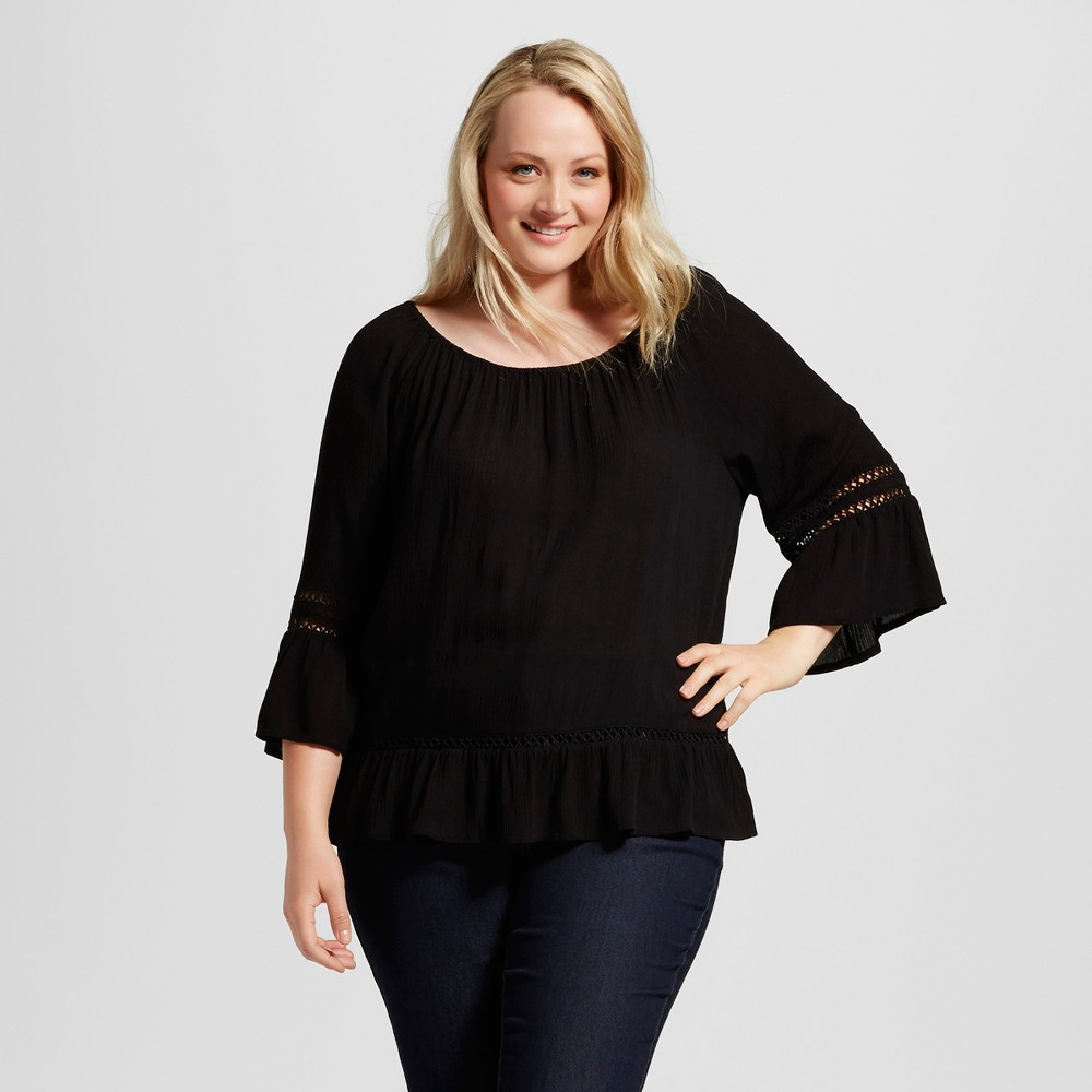 Womens Plus Size Crepon Off the Shoulder Blouse - JohnPaulRichard Black 1X
