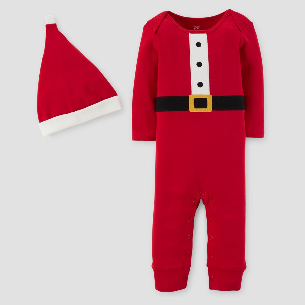 Babys 2pc Santa Coverall and Hat Set - Just One You Made by Carters Red 3M, Infant Unisex