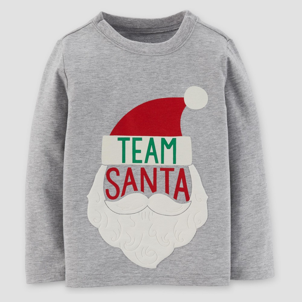 Toddler Boys Long Sleeve Team Santa Shirt - Just One You Made by Carters Gray 18M