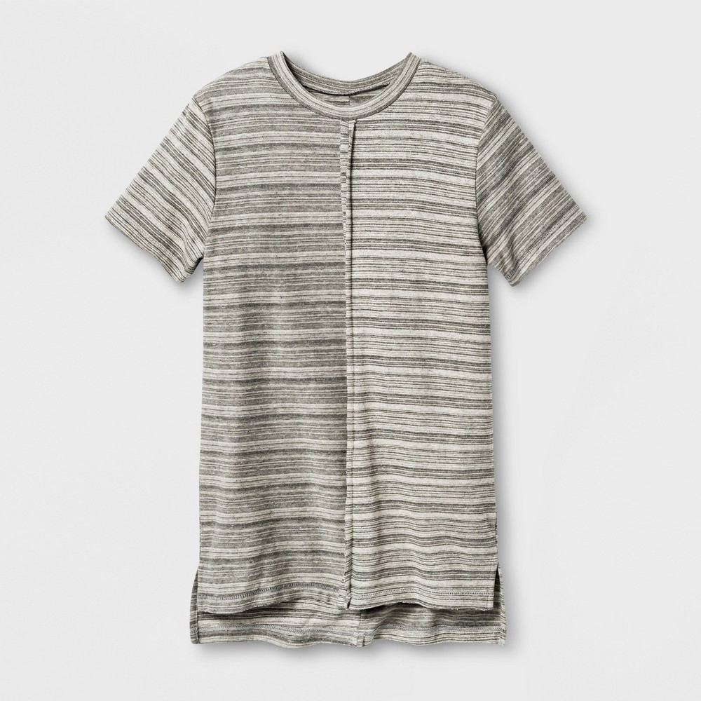 Boys Pieced Stripe T-Shirt - Art Class Gray M
