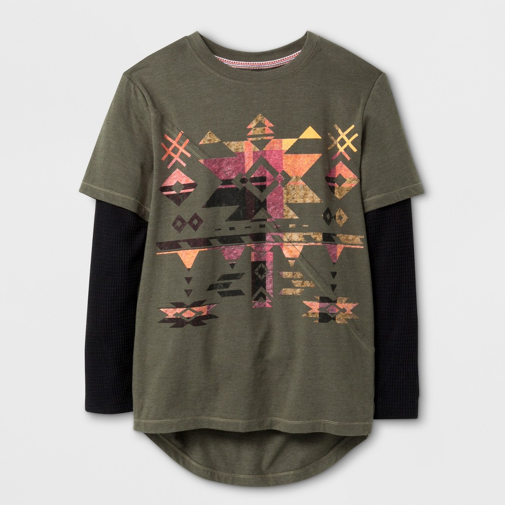 Boys Geo Layered Long Sleeve T-Shirt - Art Class Olive M, Green
