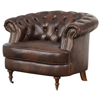 Paxton Tufted Top - Grain Leather Chair - Dark Brown - Abbyson