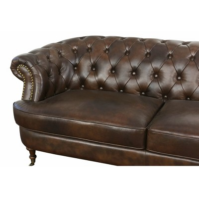 Perfect Paxton Tufted Top   Grain Leather Sofa   Dark Brown   Abbyson