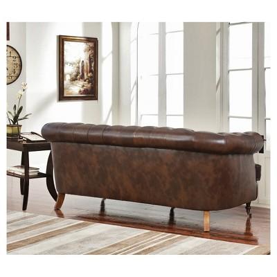 Paxton Tufted Top   Grain Leather Sofa   Dark Brown   Abbyson