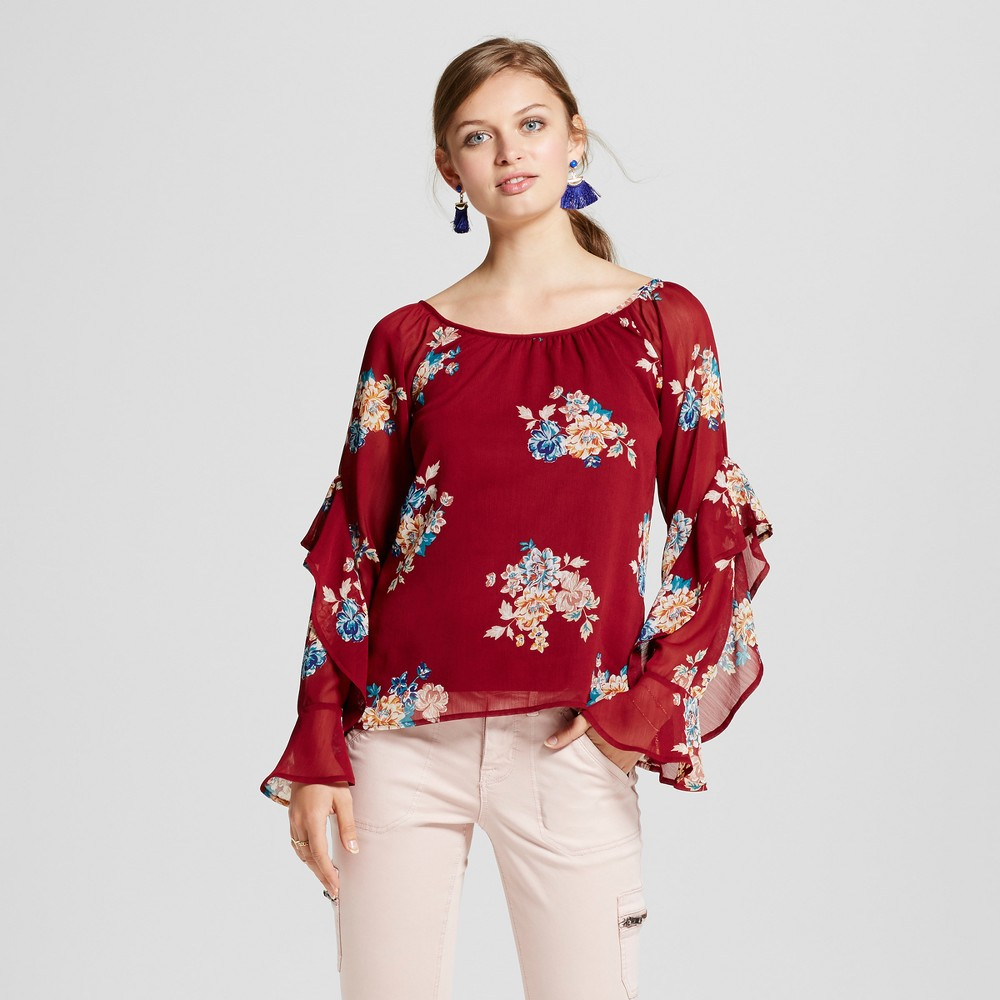Womens Floral Statement Sleeve Scoop Neck Top - 3Hearts (Juniors) Red XL, Blue Red Gold