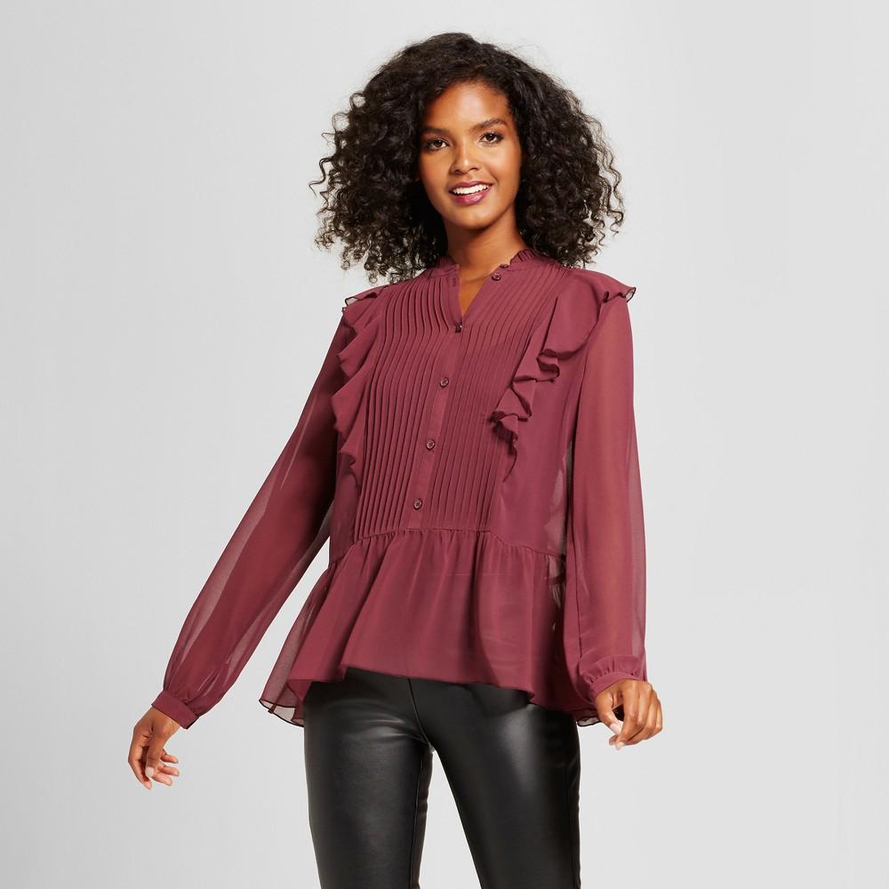 Womens Tuxedo Blouse - Who What Wear Purple L