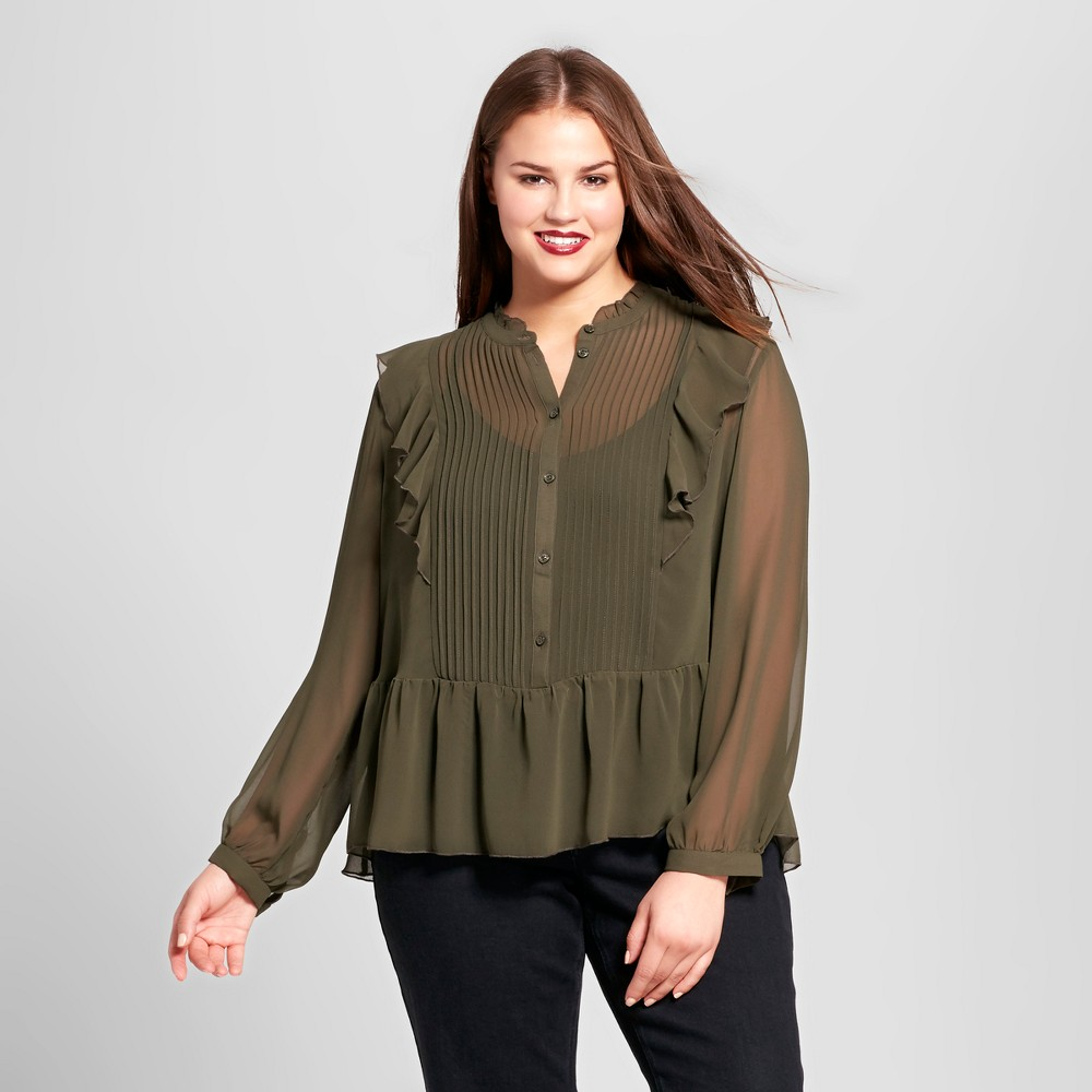 Womens Plus Size Tuxedo Blouse - Who What Wear Olive (Green) 2X