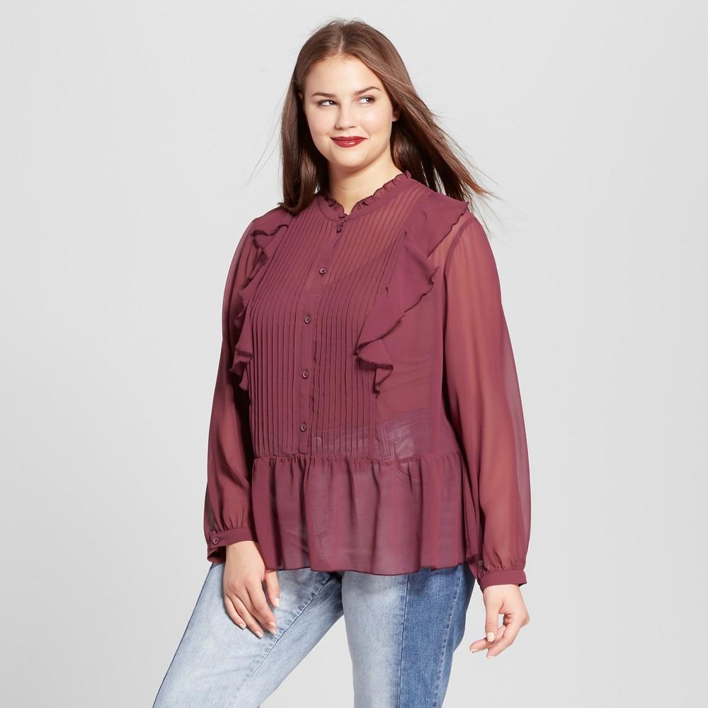 Womens Plus Size Tuxedo Blouse - Who What Wear Purple 3X